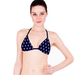 Skull Pattern Blue  Bikini Tops