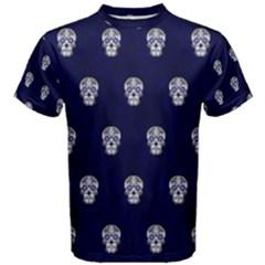 Skull Pattern Blue  Men s Cotton Tees