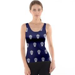 Skull Pattern Blue  Tank Tops