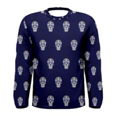 Skull Pattern Blue  Men s Long Sleeve T-shirts