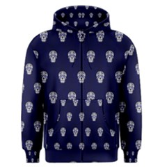 Skull Pattern Blue  Men s Zipper Hoodies