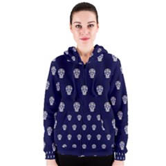 Skull Pattern Blue  Women s Zipper Hoodies