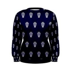 Skull Pattern Blue  Women s Sweatshirts