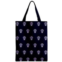 Skull Pattern Blue  Zipper Classic Tote Bags