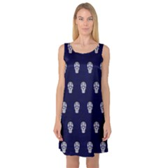 Skull Pattern Blue  Sleeveless Satin Nightdresses