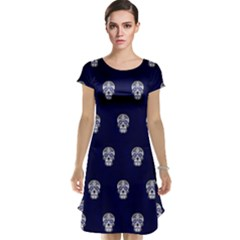 Skull Pattern Blue  Cap Sleeve Nightdresses