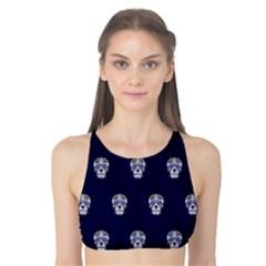 Skull Pattern Blue  Tank Bikini Top