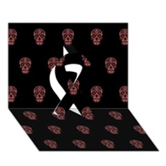 Skull Pattern Pink  Ribbon 3D Greeting Card (7x5)