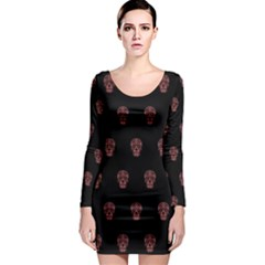 Skull Pattern Pink  Long Sleeve Bodycon Dresses