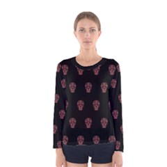Skull Pattern Pink  Women s Long Sleeve T-shirts