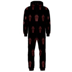 Skull Pattern Pink  Hooded Jumpsuit (men)