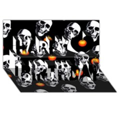 Skulls And Pumpkins Happy Birthday 3d Greeting Card (8x4)