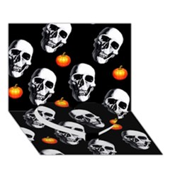 Skulls And Pumpkins Heart Bottom 3d Greeting Card (7x5)