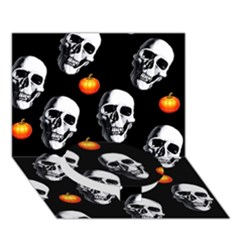 Skulls And Pumpkins Circle Bottom 3d Greeting Card (7x5)
