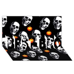 Skulls And Pumpkins Best Bro 3d Greeting Card (8x4)