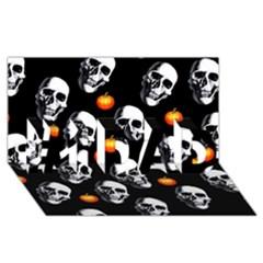 Skulls And Pumpkins #1 Dad 3d Greeting Card (8x4)