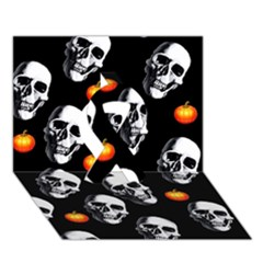 Skulls And Pumpkins Ribbon 3D Greeting Card (7x5)