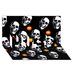 Skulls And Pumpkins Hugs 3d Greeting Card (8x4)
