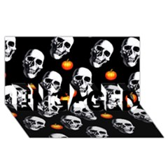 Skulls And Pumpkins ENGAGED 3D Greeting Card (8x4)