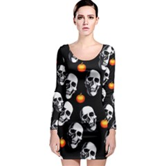 Skulls And Pumpkins Long Sleeve Bodycon Dresses