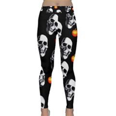 Skulls And Pumpkins Yoga Leggings