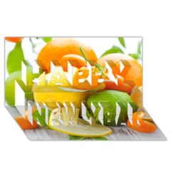 Citrus Fruits Happy New Year 3D Greeting Card (8x4)