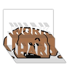 Peeping Dachshund WORK HARD 3D Greeting Card (7x5)