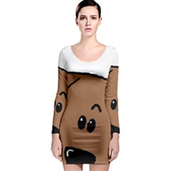 Peeping Dachshund Long Sleeve Bodycon Dresses
