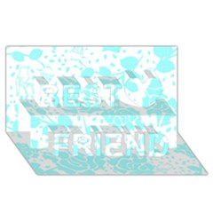 Floral Wallpaper Aqua Best Friends 3d Greeting Card (8x4)