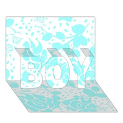 Floral Wallpaper Aqua Boy 3d Greeting Card (7x5)