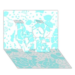 Floral Wallpaper Aqua LOVE 3D Greeting Card (7x5)