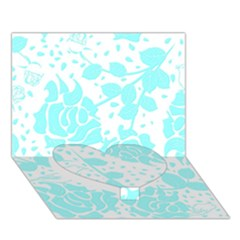 Floral Wallpaper Aqua Heart Bottom 3D Greeting Card (7x5)