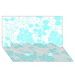 Floral Wallpaper Aqua Twin Heart Bottom 3d Greeting Card (8x4)