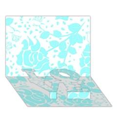 Floral Wallpaper Aqua Love Bottom 3d Greeting Card (7x5)