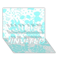 Floral Wallpaper Aqua YOU ARE INVITED 3D Greeting Card (7x5)