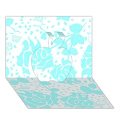 Floral Wallpaper Aqua Apple 3D Greeting Card (7x5)