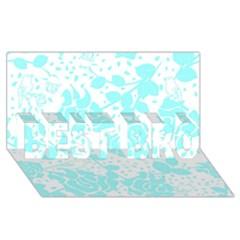 Floral Wallpaper Aqua BEST BRO 3D Greeting Card (8x4)