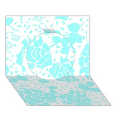 Floral Wallpaper Aqua Circle 3d Greeting Card (7x5)