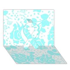 Floral Wallpaper Aqua Ribbon 3D Greeting Card (7x5)