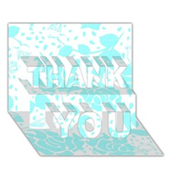 Floral Wallpaper Aqua Thank You 3d Greeting Card (7x5)