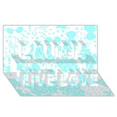 Floral Wallpaper Aqua Laugh Live Love 3d Greeting Card (8x4)
