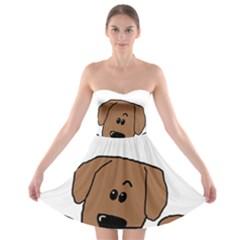 Peeping Dachshund Strapless Bra Top Dress