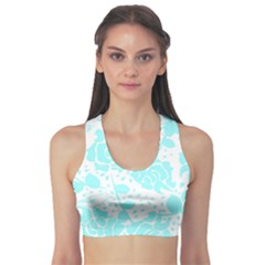 Floral Wallpaper Aqua Sports Bra