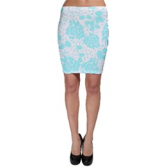 Floral Wallpaper Aqua Bodycon Skirts