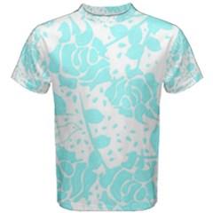 Floral Wallpaper Aqua Men s Cotton Tees