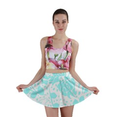 Floral Wallpaper Aqua Mini Skirts