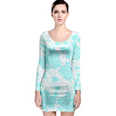 Floral Wallpaper Aqua Long Sleeve Bodycon Dresses