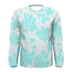 Floral Wallpaper Aqua Men s Long Sleeve T-shirts