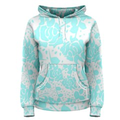 Floral Wallpaper Aqua Women s Pullover Hoodies
