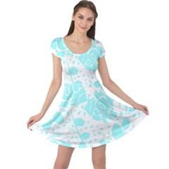 Floral Wallpaper Aqua Cap Sleeve Dresses